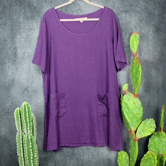 Flax Dresses & Skirts - 🌵Flax Purple Linen 2-pocket Tunic Top Dress L